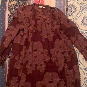 Burgundy flower dress from Wilfred